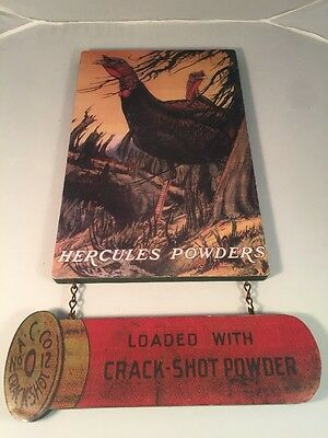 Hercules Powders Advertising Wooden Sign Wild Turkey Charles Livingston Bull