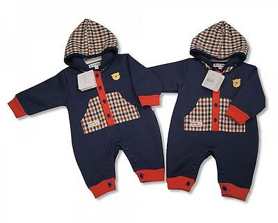 Baby All-In-One Hooded Outfit- Fire Engine Red/Navy