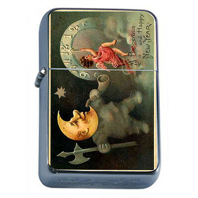 Vintage New Years Eve D3 Windproof Dual Flame Torch Lighter Refillable