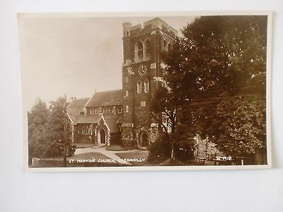 CAERPHILLY St Michael's Church Vintage Valentine's Real Photograph Postcard 1954