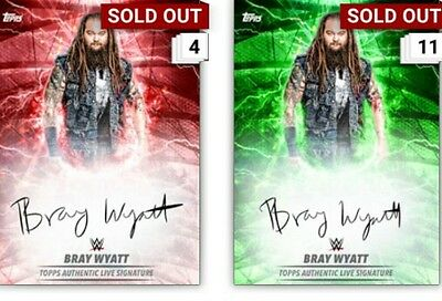 Topps Slam Red and Green Live Signature Bray Wyatt Digital Card 1 of each