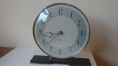 Classic Smiths Art Deco Chrome, Bakelite and Glass Clock - 8 Day Wind up