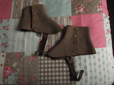 Vintage Taupe/Brown 4 Button Wool Spats with Leather Straps