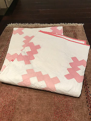 Antique Vintage White And Pink Quilt 80 X 74 Nice