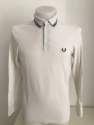polo uomo Fred Perry manica lunga tag.M bianco cotone shirt men's vintage