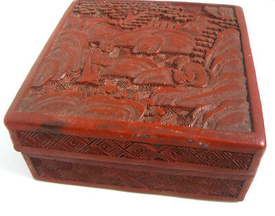 Vintage Chinese Cinnabar Laquer Square Box carved with figures in landscape