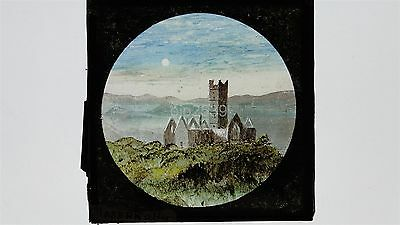 Church On A Hill - Hand Painted Glass Lantern Slide