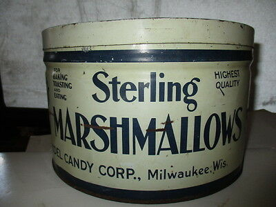 Vintage STERLING MARSHMALLOWS, Redel's Candy Corp  Milwaukee, Wis. 5 lb Tin Can