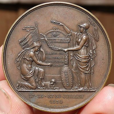 SUPERB  !!!  AE 52mm MEDAL - COMMEMORATING THE FRENCH JULY 1830 REVOLUTION