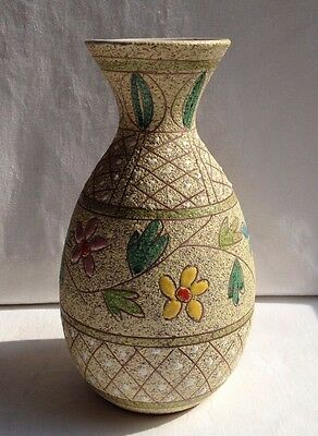 Italian 1950s Pottery Vase With Multi Colour Enamel Roundels FF Fanciullacci