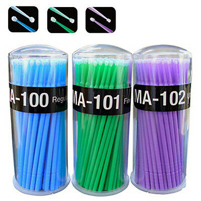 Micro Tip Brush Applicators 100pcs Eyelash Lash Extensions Cleaning & Removal