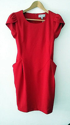 New Women Ladies Red Evening Party or Day wear Dress With Side Pockets Size 8