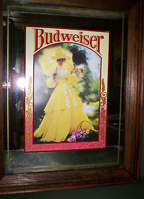 Vintage Anheuser Busch BUDWEISER Mirror BEER SIGN Picture Lady in Yellow Dress