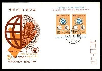World population Korea Year first-day covers souvenir sheets 1974