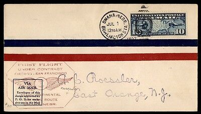 Omaha Ne Jul 1 1927 Ffc Cam Duplex Cancel On Air Mail Cover W/ Ny Back Stamp