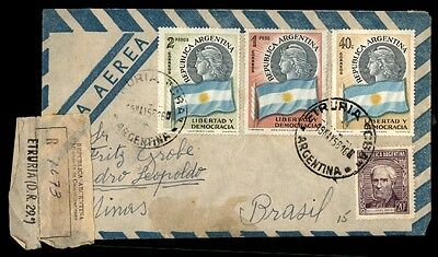 Truria Argentina 1956 airmail cover to Minas Brazil colorful franking