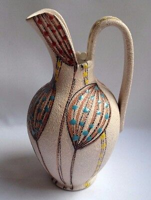 Italian 1950s Pottery Jug With Multi Colour Enamel FF Fanciullacci