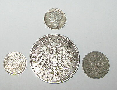 Germany Prussia, Five Silver Marks. 1903 A; 1912- 5 & 10 Pf., 1943 Mercury Dime