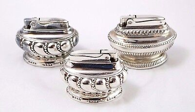 Lot of 3 Vintage Ronson Silver Plated Table Lighters