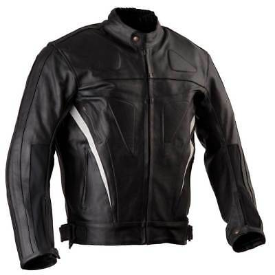 Men's Leather Motorcycle Jacket, Biker Jacket- Stretch Panels, Vents and Armour