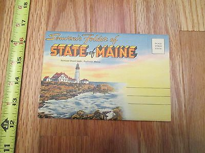State of Maine ME travel Souvenir Folder Postcard