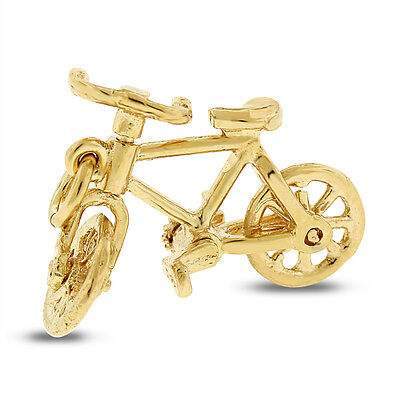 Vintage Bicycle Bike Moving Pedals & Wheels Charm In Solid 14k Yellow gold