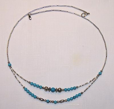 "Sterling Silver Turquoise Southwestern Bead Necklace (19"")"
