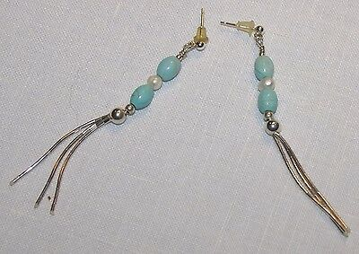 "Turquoise Sterling Silver Bead Post Dangle Earrings 3"" long"