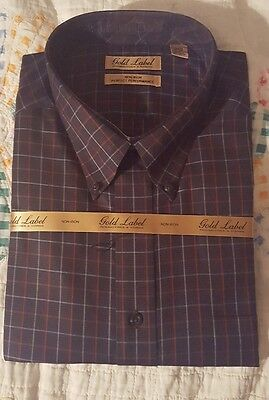 NWT Gold Label Roundtree & Yorke Long Sleeve Navy/Red Plaid Men's Shirt Size 2XB