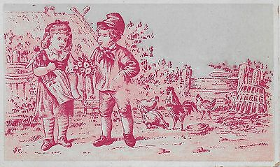 VICTORIAN ADVERTISING CARD, RED TOILE FARM SCENE, ROOSTERS, HENS & CHICKS, c1880