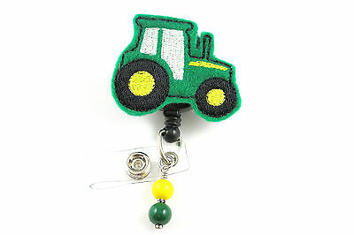 Green Tractor - Retractable ID Name Nurse Badge Holder Reel RN Lanyard Farm