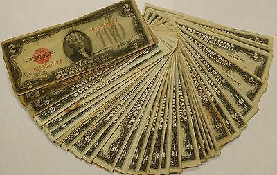 50 pcs $2 red seal US Notes series 1928D - 1963A Off Quality, no missing corners