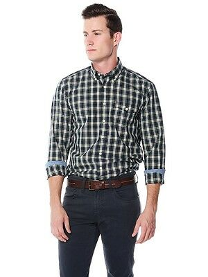 GANT Men's Wilmington Poplin Check Button Down Shirt: Size XL: Harbour Navy