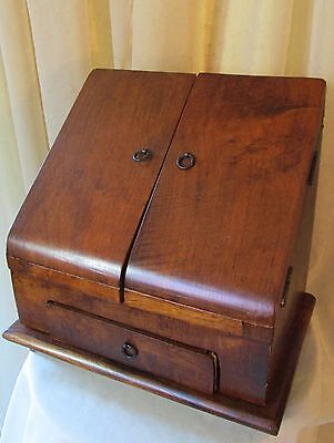 Antique Mahogany or Walnut Footed Stationary Cabinet Writing Box w/ Drawer