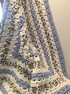 "New Crocheted Baby Boy Blue Blanket Super Soft and Chunky  51"" x 51"""