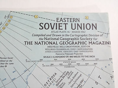 Vintage 1967 National Geographic Map Eastern Soviet Union