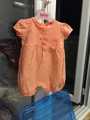 Coral Ted Baker Baby Butterfly Girl Romper 0-3 Months