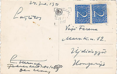 1951 Holland postcard. 4c rate paid with perfin stamps