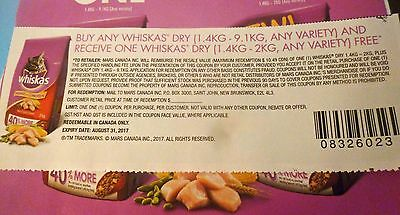 Lot Of B0G0 Whiskas Dry Cat Food Product Coupons