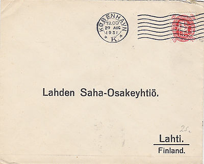 1931 Denmark to Finland. Perfin stamp in use.