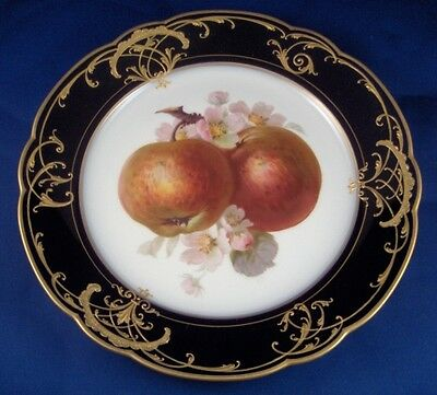 Art Nouveau KPM Berlin Porcelain Named Apple Scene Plate Porzellan Teller Scenic