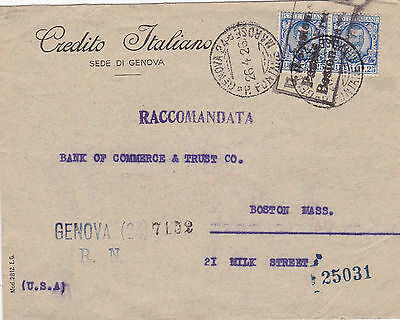 1926 Registered letter. Italy to USA. Perfin stamp in use.
