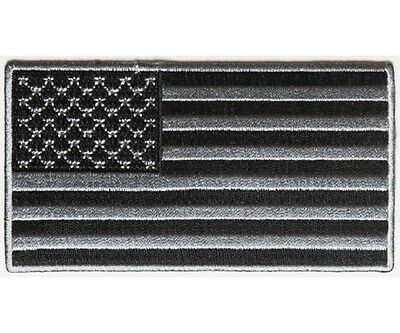"(C3) BLACK and GRAY American Flag 4"" x 2.2"" iron on patch (4953) Biker Vest"
