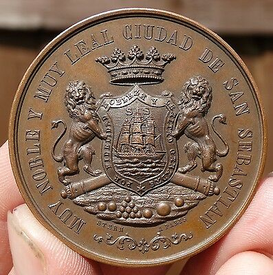 SUPERB !!! AE 47mm SPAIN - DESTRUCTION of FORTIFICATIONS  of  SAN SEBASTIAN 1864