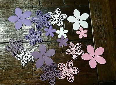 X16 MIXED COLOUR DIE CUT FLOWER SCRAPBOOKING CARDMAKING DECORATING- 4 sizes
