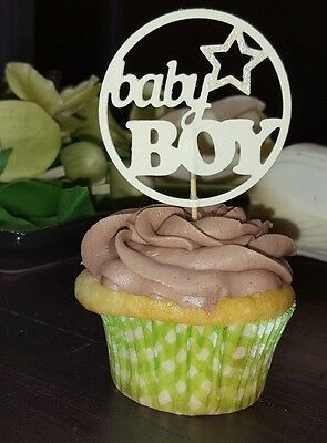 X12 Mixed Cupcake Toppers Baby Boy Baby Shower Party