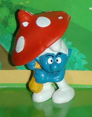 Vintage Rare Grouchy Smurf Holding A Mushroom Umbrella W. Germany Smurf Lot