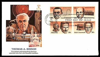Mayfairstamps US FDC 1983 THOMAS A EDISON BLOCK FLEETWOOD 20 UNADDRESSED UNSEALE
