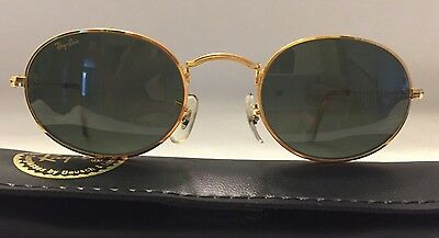 NEW OLD STOCK RAY BAN B&L SUNGLASSES 24K GOLD PLATE METAL OVAL AVIATOR 48mm
