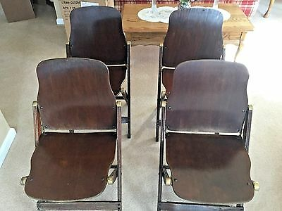 Set of 4 Vintage WWII Era American Seating Co. Wood Folding Chairs